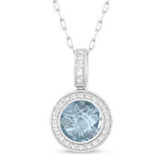 1.67ct Checkerboard Blue Topaz & Round Cut Diamond Halo Pendant & Chain Necklace in 14k White