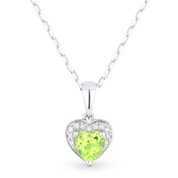 0.57ct Heart-Shaped Peridot & Round Diamond Heart Charm Pendant & Chain Necklace in 14k White Gold