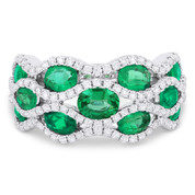 2.71ct Oval Cut Emerald & Diamond Pave Right-Hand Wide Statement Ring in 18k White Gold