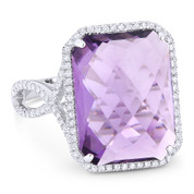 9.95ct Checkerboard Cushion Amethyst & Round Cut Diamond Pave Cocktail Ring in 14k White Gold