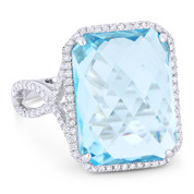 13.20ct Checkerboard Cushion Blue Topaz & Round Cut Diamond Pave Cocktail Ring in 14k White Gold