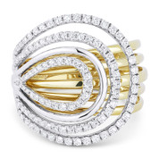 0.77ct Round Cut Diamond Right-Hand Overlap Multi-Loop Statement Ring in 14k Yellow & White Gold