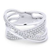0.53ct Round Cut Diamond Pave Overlap Loop Right-Hand Statement Ring in 14k White Gold