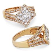 0.75ct Round Brilliant Cut Diamond Cluster & Pave Flower-Design Statement Ring in 18k Rose Gold