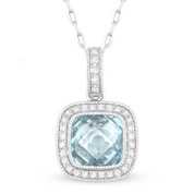 1.74ct Checkerboard Blue Topaz & Round Cut Diamond Halo Pendant & Chain Necklace in 14k White Gold