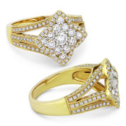 0.75ct Round Brilliant Cut Diamond Cluster & Pave Flower-Design Statement Ring in 18k Yellow Gold