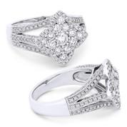 0.75ct Round Brilliant Cut Diamond Cluster & Pave Flower-Design Statement Ring in 18k White Gold