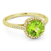 1.52ct Round Brilliant Cut Peridot & Diamond Halo Promise Ring in 14k Yellow Gold