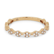 0.14ct Round Cut Diamond Multi-Cluster Stackable Right-Hand Ring / Band in 14k Rose Gold