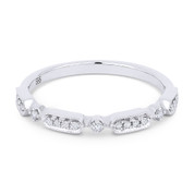 0.11ct Round Cut Diamond Stackable Fashion Band / Anniversary Ring in 14k White Gold