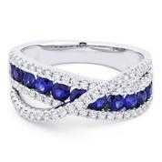 1.37ct Round Brilliant Cut Sapphire & Round Diamond Pave Right-Hand Overlap-Design Fashion Ring in 18k White Gold