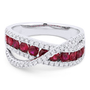 1.36ct Round Brilliant Cut Ruby & Round Diamond Pave Right-Hand Overlap-Design Fashion Ring in 18k White Gold