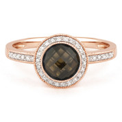 1.64ct Checkerboard Smoky Topaz & Round Cut Diamond Pave Halo-Design Ring in 14k Rose Gold