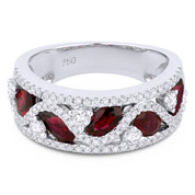 2.07ct Oval Cut Ruby & Round Diamond Pave Thick Statement Band in 18k White Gold