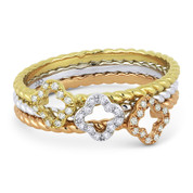 0.14ct Round Cut Diamond Flower & Rope Design Stackable 3-Ring Set in 14k White, Yellow, & Rose Gold