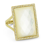 Checkerboard Cushion Mother-of-Pearl & 0.21ct Round Cut Diamond Rectangle-Halo Cocktail Ring in 14k Yellow Gold