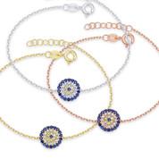 Evil Eye 10mm Circle Charm & Chain Bracelet w/ Cubic Zirconia Crystals in .925 Sterling Silver - EYES17B