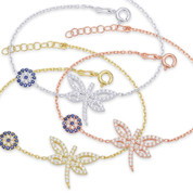 Dragonfly & 7mm Evil Eye Charm & Chain Bracelet w/ Cubic Zirconia Crystals in .925 Sterling Silver - EYES24B