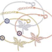 Dragonfly & 7mm Evil Eye Charm & Chain Bracelet w/ Cubic Zirconia Crystals in .925 Sterling Silver - EYES24B