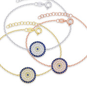 Evil Eye 13mm Circle Charm & Chain Bracelet w/ Cubic Zirconia Crystals in .925 Sterling Silver - EYES65