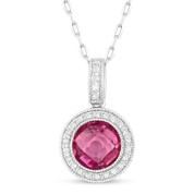 2.00ct Checkerboard Lab-Created Pink Sapphire & Round Cut Diamond Halo Pendant & Chain Necklace in 14k White Gold