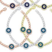 Evil Eye Enamel Bead Triple-Charm & Bezel Link Bracelet w/ CZ Crystals in .925 Sterling Silver - EYES67