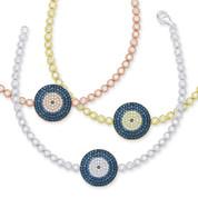 Evil Eye 18mm Circle Charm & Bezel Link Bracelet w/ Cubic Zirconia Crystals in .925 Sterling Silver - EYES68