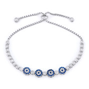 Evil Eye Multi-Charm & Bezel Link Slide-Lock Bracelet w/ Cubic Zirconia Crystals in .925 Sterling Silver - EYES72