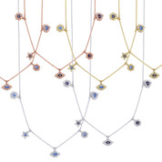 Eye, Heart, Snowflake, Star, Flower, & Evil Eye Enamel Bead Charm & Chain Necklace w/ CZ Crystals in .925 Sterling Silver - EYESN50