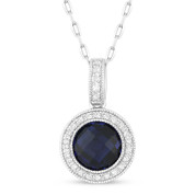 2.00ct Checkerboard Lab-Created Blue Sapphire & Round Cut Diamond Halo Pendant & Chain Necklace in 14k White Gold