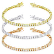 3mm Cubic Zirconia Crystal Basket-Setting Tennis Bracelet in .925 Sterling Silver - TB001-3MM-SL