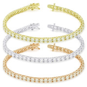 4mm Cubic Zirconia Crystal Basket-Setting Tennis Bracelet in .925 Sterling Silver - TB001-4MM-SL
