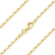 1.5mm (Gauge 006) Heshe Link Bar Italian Chain Necklace in .925 Sterling Silver w/ 14k Yellow Gold Plating - CLN-BAR2-1.5MM-SLY