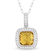 1.57ct Checkerboard Citrine & Round Cut Diamond Halo Pendant & Chain Necklace in 14k White Gold