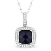 2.23ct Checkerboard Lab-Created Blue Sapphire & Round Cut Diamond Halo Pendant & Chain Necklace in 14k White Gold