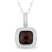 2.01ct Checkerboard Garnet & Round Cut Diamond Halo Pendant & Chain Necklace in 14k White Gold