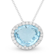 3.49ct Fancy Cut Blue Topaz & Round Diamond Halo Pendant & Chain Necklace in 14k White Gold