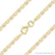 2.2mm Diamond-Cut Valentino Link Italian Chain Necklace in .925 Sterling Silver w/ 14k Yellow Gold Plating - CLN-VAL2-2.2MM-SLY