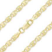 3.5mm Diamond-Cut Valentino Link Italian Chain Necklace in .925 Sterling Silver w/ 14k Yellow Gold Plating - CLN-VAL2-3.5MM-SLY