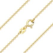 1.4mm (Gauge 035) Round Rolo Cable Link Italian Chain Necklace in .925 Sterling Silver w/ 14k Yellow Gold Plating - CLN-CAB1-035-SLY