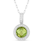 1.49ct Checkerboard Peridot & Round Cut Diamond Halo Pendant & Chain Necklace in 14k White Gold