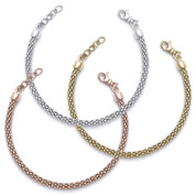 4.5mm Popcorn Link Italian Chain Bracelet w/ Extender Chains in .925 Sterling Silver - CLB-POP2-4.5MM-SL