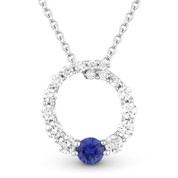 0.46ct Sapphire & Diamond Journey Circle Eternity Pendant & Chain Necklace in 14k White Gold