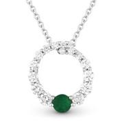 0.44ct Emerald & Diamond Journey Circle Eternity Pendant & Chain Necklace in 14k White Gold