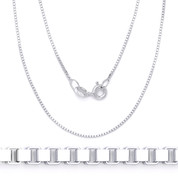 0.7mm (Gauge 010) Classic Box Link Italian Chain Necklace in Solid .925 Sterling Silver - CLN-BOX1-010-SLP