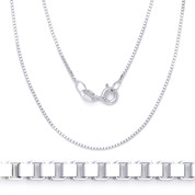 0.8mm (Gauge 015) Classic Box Link Italian Chain Necklace in Solid .925 Sterling Silver - CLN-BOX1-015-SLP