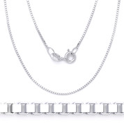 1mm (Gauge 019) Classic Box Link Italian Chain Necklace in Solid .925 Sterling Silver - CLN-BOX1-019-SLP