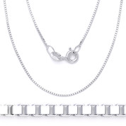 1.2mm (Gauge 022) Classic Box Link Italian Chain Necklace in Solid .925 Sterling Silver - CLN-BOX1-022-SLP