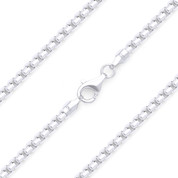2mm (Gauge 200) Rounded Mirror-Box Link Italian Chain Necklace in Solid .925 Sterling Silver - CLN-BOX4-200-SLP