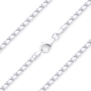2.5mm (Gauge 240) Rounded Mirror-Box Link Italian Chain Necklace in Solid .925 Sterling Silver - CLN-BOX4-240-SLP